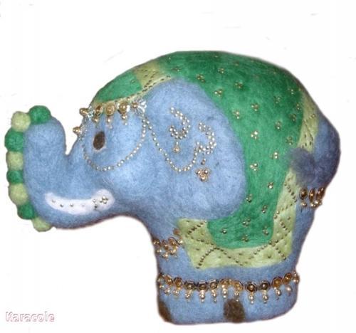 L'éléphant bleu polystyrène, laine-cardée décoration, éléphant Home déco, modelage, bois, cadres, fleurs