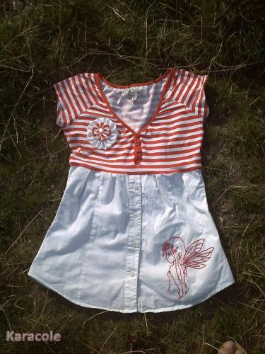 Une chemise qui devient tunique couture, broderie, yoyo  Couture & Art du fil
