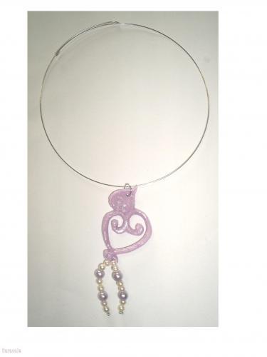 Collier tour de cou coeurs mauves porcelaine-froide collier, pendentif Mode, bijoux, accessoires