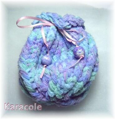 Pochon au tricotin circulaire laine, tricotin pochon, sac Couture & Art du fil