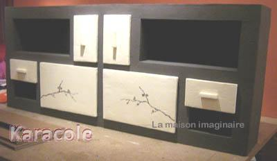 Buffet zen en carton meuble rangement d co japonais for Meuble japonais en