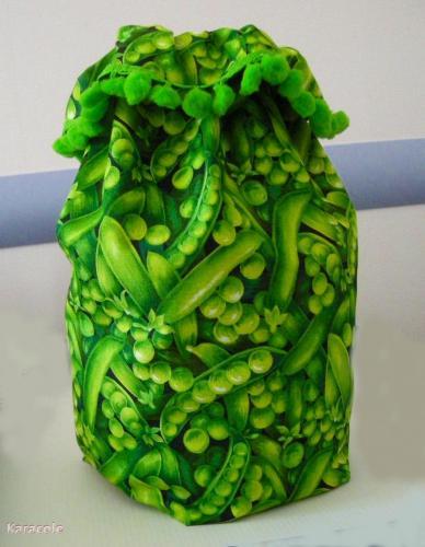 La cueillette des petits pois (sac à sacs) couture, tissu-coton rangement, cuisine Couture & Art du fil