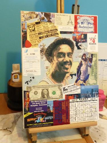 Chicago 99 toile, décopatch, collage tableau, déco, photo Cartonnage, papeterie, scrapbooking