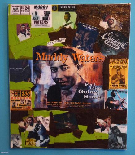 The folk singer toile, décopatch, collage tableau, déco, photo Cartonnage, papeterie, scrapbooking