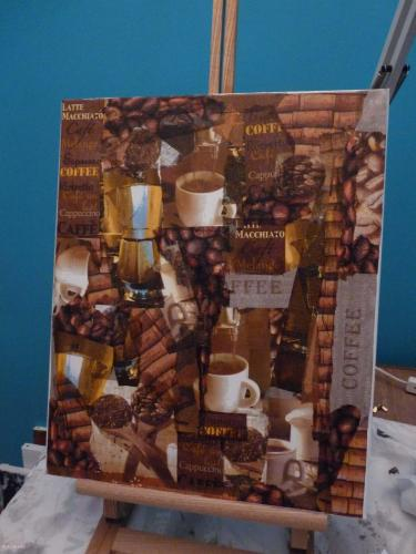Coffee & wine décopatch, vernis-colle, vernis-acrylique tableau Cartonnage, papeterie, scrapbooking