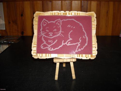le chat gravure cadre tableau gravure verre bois pinces linge home d co modelage. Black Bedroom Furniture Sets. Home Design Ideas
