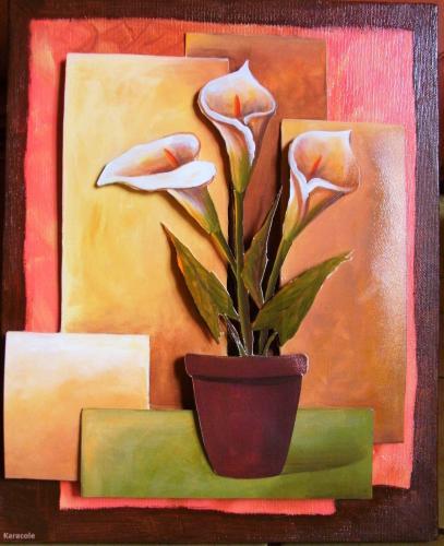 Vase et ses 3 arums découpage, collage  Home déco, modelage, bois, cadres, fleurs