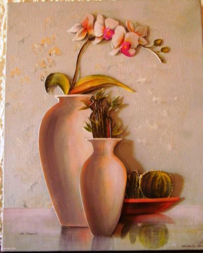 Orchidée et cactus découpage, collage, peinture  Home déco, modelage, bois, cadres, fleurs
