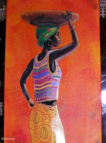 Femme africaine en 3D   Home déco, modelage, bois, cadres, fleurs