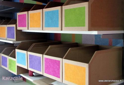Casiers de rangement en carton recyclé carton-ondulé rangement, tutoriel, gratuit Cartonnage, papeterie, scrapbooking