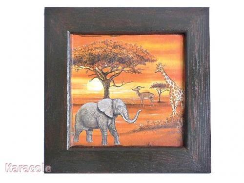 cadre en bois d cor savane tableau africain serviettage encadrement home d co modelage. Black Bedroom Furniture Sets. Home Design Ideas