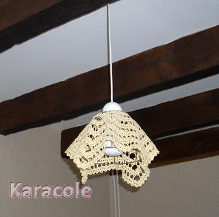 un abat jour maison clairage d co lampe crochet dentelle couture art du fil karacole. Black Bedroom Furniture Sets. Home Design Ideas