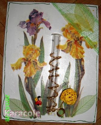 Soliflore sur fond fleuri composition, papier-de-riz  Home déco, modelage, bois, cadres, fleurs