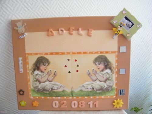 Tableau de naissance Adèle toile, peinture tableau, déco, bébé Home déco, modelage, bois, cadres, fleurs