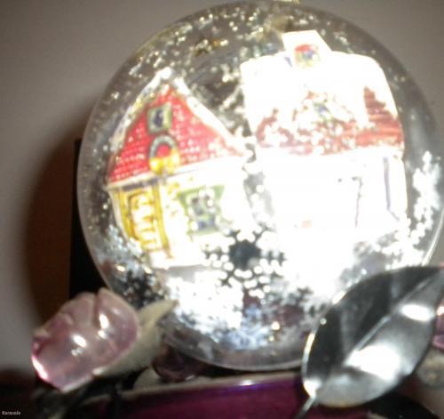 Boule de Noël transparente serviettage, collage, pâte-à-modeler déco, noël Home déco, modelage, bois, cadres, fleurs