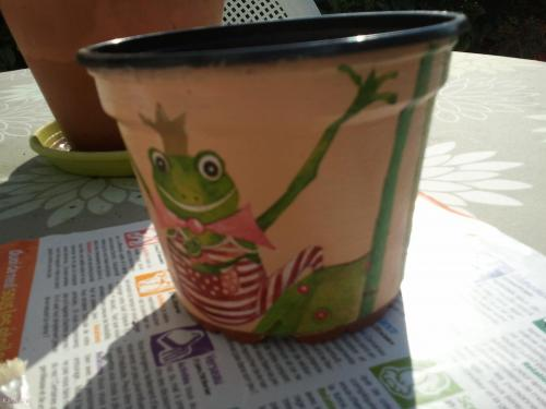 Cache-pot grenouille serviettage poterie, jardin Cartonnage, papeterie, scrapbooking