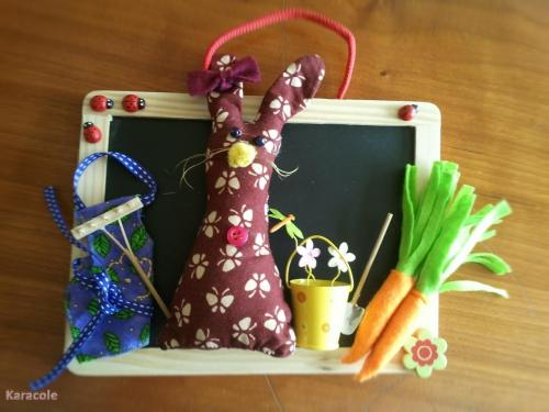 Tableau lapin printanier couture, feutrine  Home déco, modelage, bois, cadres, fleurs