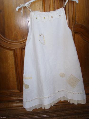 Robe Fillette récup drap, lin, dentelle, récupération  Mode, bijoux, accessoires