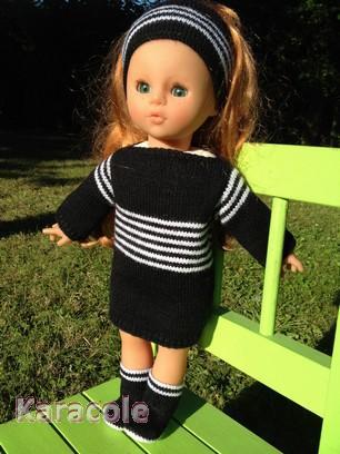 Habit pour poupée - Paris/Brest laine modèle habit aiguilles laine tricot poupée Couture & Art du fil