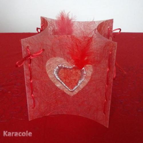 Photophore St Valentin en intissé et fil diamant DMC polyphane, broderie St-Valentin, photophore Home déco, modelage, bois, cadres, fleurs