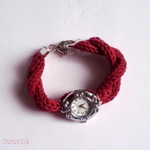 Bracelet de montre en fil Natura au tricotin tricotin, fil-Natura montre Mode, bijoux, accessoires