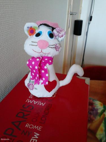 Titi chat tissu, ouate, sable  Couture & Art du fil