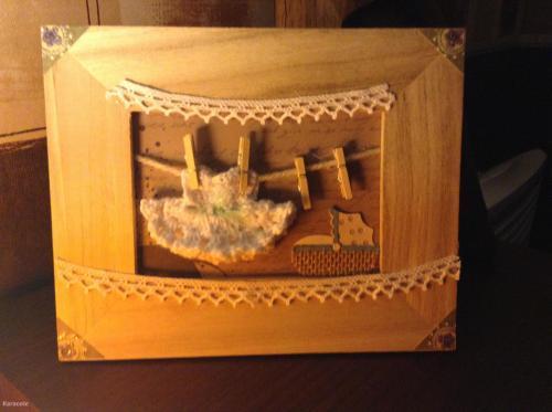 Cadre déco chambre bébé miniature, bois  Couture & Art du fil