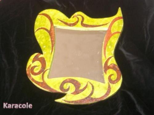 Miroir chocolat anis carton découpage collage papier-népalais lokta miroir déco Cartonnage, papeterie, scrapbooking